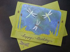 Happy Birthday Dragonflies On Ripple Pond   Handmade Blank Greeting Card By  OwlPostGreetings On Etsy