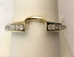 14k Yellow Gold 1/4 carat Diamonds Solitaire Wrap Ring Guard Solitaire Enhancer