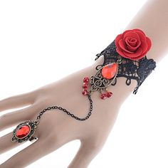 Yantu Lolita drop metal Christmas Wedding Bracelets with retro ring for women Red Rose Lace - http://schmuckhaus.online/yantu/yantu-lolita-drop-metal-christmas-wedding-with