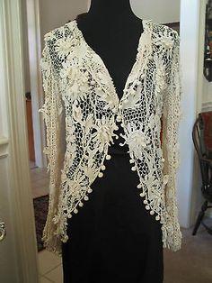 Antique Irish Lace Edwardian Jacket                                                           Ebay