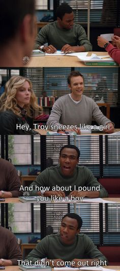 Troy Barnes can never quite seem as manly as Jeff Winger, even when he tries to say something tough. #Community #hilarious Test your Community knowledge with this Community Quiz https://www.qzzr.co/quiz/community-trivia-rise-of-the-harmon