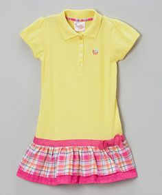 Take a look at this Yellow Plaid Drop-Waist Polo Dress - Infant, Toddler & Girls by Longstreet on #zulily today!