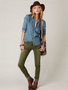 Free People Taverniti Skinny Denim with Ankle Zippers  My favorite...army green