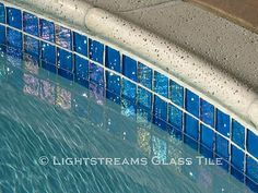 American manufactured Lightstreams Glass Tile can be used in both commercial and residential swimming pool waterline projects. Lightstreams rich colored iridescent glass pool tiles are stunning and high quality. Pool Coping, Pool Spa, Pool Water, Backyard Pool Designs, Pool Landscaping, Backyard Ideas, Garden Ideas, Waterline Pool Tile, Glass Pool Tile
