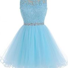 Homecoming Dresses, Light Blue lace..