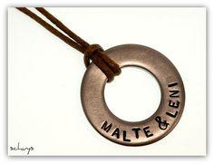♥♥♥ Edelstahlring mit Namen HANDGESTEMPELT ♥♥♥ von schuys auf DaWanda.com