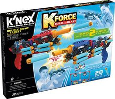 Build 2 blasters and a target at the same time in this 365 piece set! The Double Draw blasters each fire up to 75 feet! Set includes K'NEX rods and connectors plus special parts to create customized b...