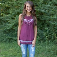 NWT Purple Embroidered Top Super cute. I have two sizes: Small and Medium. Let me know what size you want! If you have questions on measurement please ask before you buy! Tops Blouses