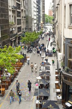 In downtown Buenos Aires buses have been diverted to the exclusive lanes on the main boulevard 9 de Julio. And the city has turned about 100 blocks of those once noisy and polluted roads into either fully pedestrianized streets or pedestrian-priority zones.