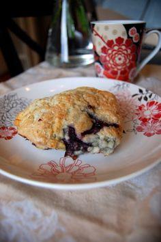 For the scones:   1 – 1 1/2 c blackberries  2 c flour  1 Tbs baking powder  4 Tbs sugar  4 Tbs butter  2 eggs, beaten  1/3 c milk  1/4 c sour cream  For the crust:   1 egg white  1/4 c sugar