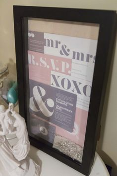 wedding stationary | Pride & Joyce // blush pink, gray, lace, typography, shadow box