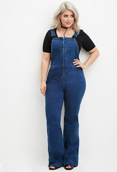 FOREVER 21+ Plus Size Zipped Denim Overalls
