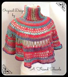 Wool look Acrylic - Crochet Turtleneck Capelet  $50