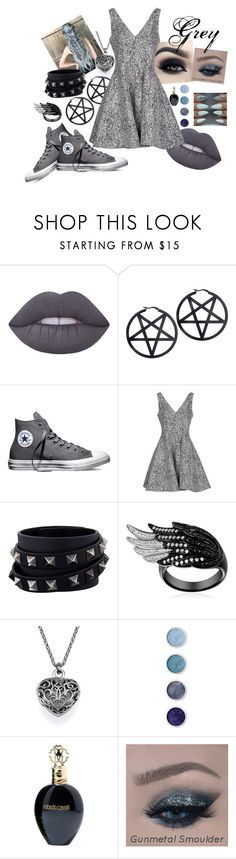 """""""Grey Dress Set"""" by jellyfishxx ❤ liked on Polyvore featuring Lime Crime, Too Faced Cosmetics, Converse, Opening Ceremony, Valentino, Terre Mère and Roberto Cavalli"""