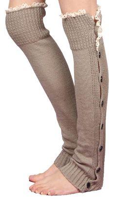 Kathlena(TM) Women Knee High Knit Flat Button Down Crochet Lace Trim Leg Warmers Khaki