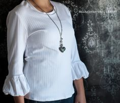 Women's Bella Bubble Sleeve Knit Top in White from by Gogreenstyle, $42.00