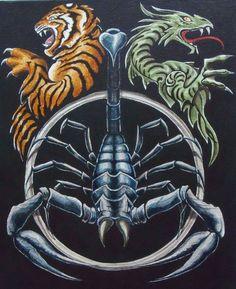 Scorpion, dragon and tiger - painting - Art by Vendetta Scorpio Art, Scorpio Quotes, Scorpio Woman, Dojo, Tattoo Dragon And Phoenix, Aztecas Art, Azteca Tattoo, Tiger Dragon, Tiger Painting