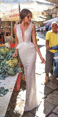 muse by berta wedding dresses sheath lace embellishment 2018