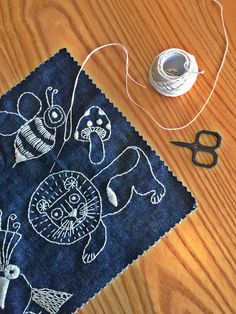 Free range denim patches to embroider from birdiebrown.co.nz Felt Embroidery, Felt Applique, Applique Cushions, Textiles, Sewing For Kids, Diy Kits, Wool Felt, Patches, Pure Products