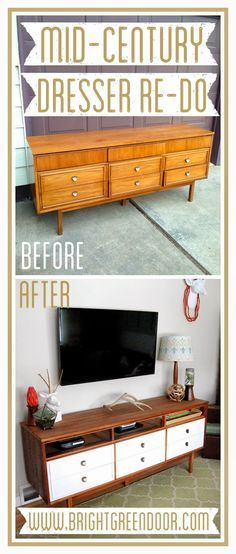 45 ideas mid century furniture makeover tv stands for 2019 Refurbished Furniture, Repurposed Furniture, Furniture Makeover, Painted Furniture, Dresser Repurposed, Repurposed Doors, Repurposed Items, Mid Century Modern Dresser, Mid Century Modern Furniture