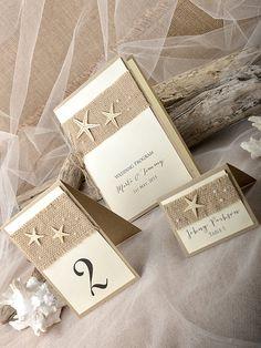 Custom listing (10) Rustic Beach Wedding Set, Beach Wedding Programs, Starfish Table Number, Rustic Escort Card, Beach Place Cards