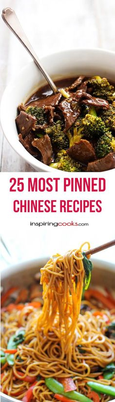 - These are the 25 most pinned Chinese recipes on Pinterest. If you love Chinese you are going to love making your own Chinese for dinner tonight.