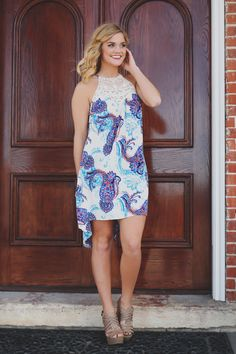 Lace High Neckline Paisley Printed Day Dress - UOIOnline.com : Online Women's Boutique
