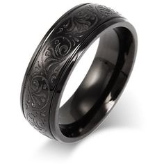 Men's Black Stainless Steel Carved Design Ring ($28) ❤ liked on Polyvore featuring men's fashion, men's jewelry, men's rings, mens wedding rings, mens watches jewelry, mens rings, mens stainless steel rings and mens stainless steel wedding rings