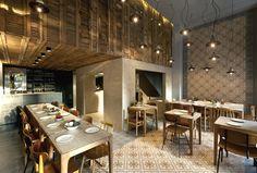 Restauraunt - Bar shutter matching mosaic floor and wall pattern