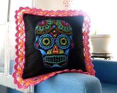 Hand Embroidered Day of the Dead Pillow by ClamTown on Etsy
