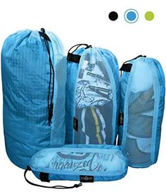 Raqpak Stuff Sack Set of 4 Lightweight Travel Drawstring Bags for Luggage and Outdoors MixedLMSxs Blue -- Learn more by visiting the image link. Note:It is Affiliate Link to Amazon.