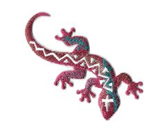 Gecko - Lizard - Southwest Design - Desert - Embroidered Iron On Patch #Unbranded