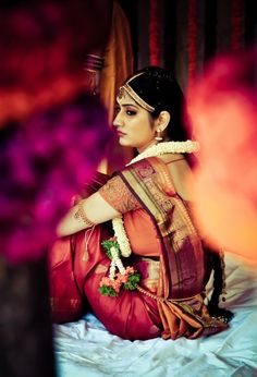 Contemplative Indian bride shot by Coffe stain