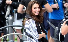 All smiles: The Duchess grinned broadly despite some unfavorable weather as they sailed the harbor #katemiddleton