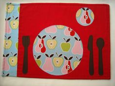Montessori Placemat:  Apples and Pears II Reversible Cloth Placemat to Learn to set the table on Etsy, $15.00