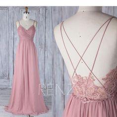 Affiliate - Bridesmaid Dress Dusty Rose V Neck Wedding Dress,Spaghetti Straps Long Prom Dress,Illusion Lace Low Back Evening Dress Full Length(H497)