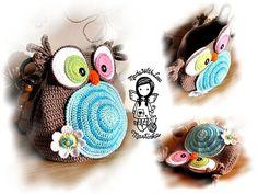 Crochet PATTERN Bag Jolly Owl Purse Hand Bag DIY Pattern