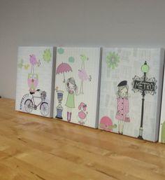 Nursery art Baby room decor Baby girl nursery wall by DesignByMaya, $255.00