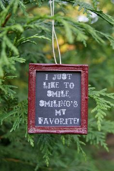 Fancy Frame Chalkboard ELF Quote Christmas Ornament - I just like to smile, smiling's my favorite
