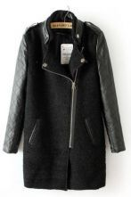 Black Contrast Leather Quilted Sleeve Zipper Coat $104.00