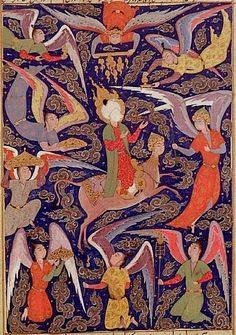 Mohammed ascending to Paradise. 16th century painting, currently housed in the Seattle Art Museum.