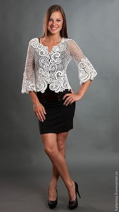 This Pin was discovered by mar Crochet Jacket, Crochet Blouse, Lace Jacket, Lace Patterns, Clothing Patterns, Crochet Russe, Irish Crochet Tutorial, Russian Crochet, Lace Outfit