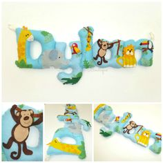 Jungle themed personalised felt name banner www.facebook.com/thebannerboutique