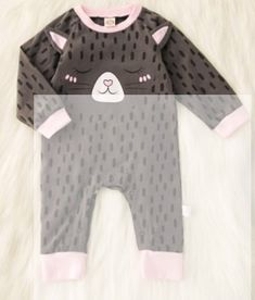 Sweet Cat Graphic Long-sleeve jumpsuit for Baby