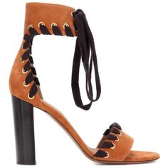 Chloé Suede Sandals ($1,200) ❤ liked on Polyvore featuring shoes, sandals, suede leather shoes, tan sandals, tan shoes, chloe sandals and chloe shoes