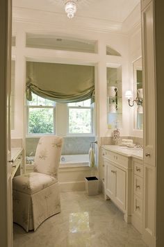 "Everything in one place for the ""her"" side of the bathroom. I'd go with plantation shutters."