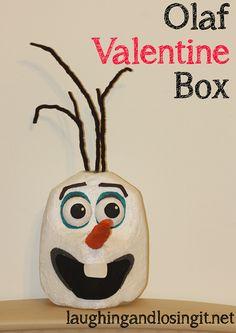 Olaf Valentine Box tutorial Made from an up cycled milk jug #DIY #Valentine #KidCraft
