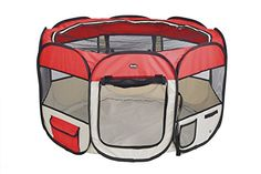 Dog Playpens - EXPAWLORER 45 Red Puppy Playpen Dog Exercise Kennel Cats Pet Portable Foldable Pen * Check this awesome product by going to the link at the image. (This is an Amazon affiliate link)