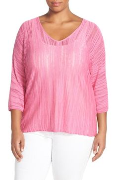 NIC+ZOE 'Macaron' V-Neck Knit Top (Plus Size)