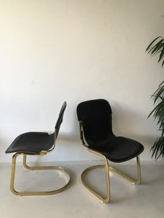 Brass and Leather Dining Chairs by Willy Rizzo for Cidue, 1960s, Set of 2 1